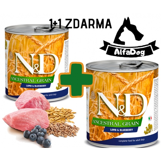 N&D Dog Low Grain Adult Lamb & Blueberry 285 g  1 + 1 ZDARMA