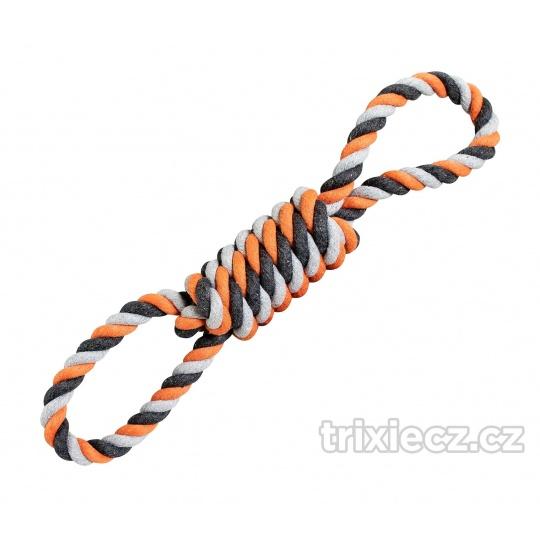 HipHop Preťahovadlo bavlnená osmica 38 cm / 190 g šedá, tm.šedá, oranžová