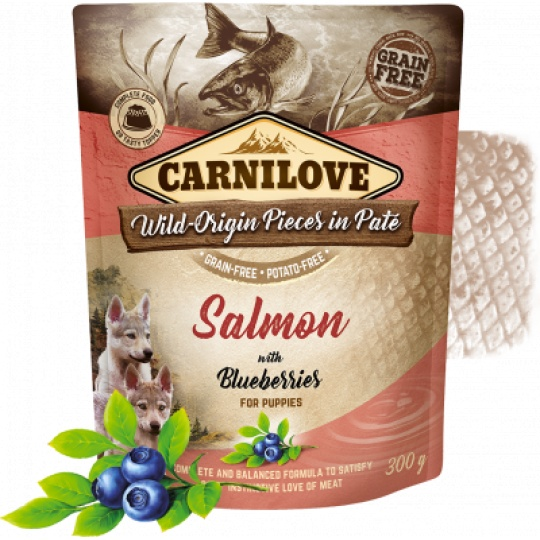 Carnilove Dog Pouch Paté Salmon & Blueber Puppies 300g