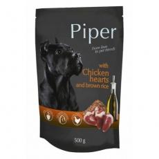 PIPER s kuřecími srdíčky a hnědou rýží, kapsička pro psy 500g