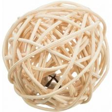 Zapletený míček s rolničkou, ratan,  ø 4 cm