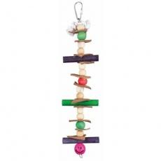 Dřevěná hračka, lano s barevnými kuličkami a kůží, 28 cm