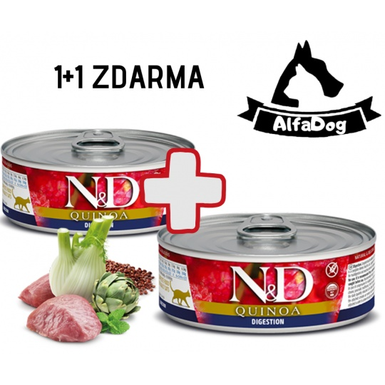 N&D CAT QUINOA Adult Digestion 80 g 1 + 1 ZDARMA