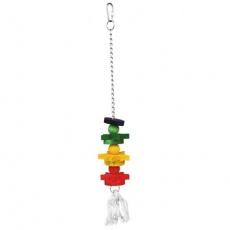Dřevěné hvězdičky a kuličky barevné na laně 30 cm