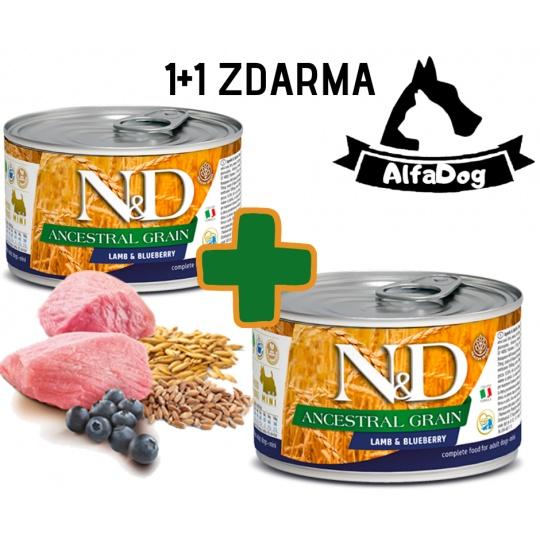 N&D Dog Low Grain Adult Lamb & Blueberry Mini 140g  1 + 1 ZDARMA