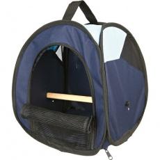 Transportní taška s bidýlkem pro ptáky tmavě modrá/světle modrá 27x32x27 cm
