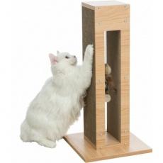 Škrábací sloupek vzhled dřeva, s hračkou, MDF/karton/juta, 62cm