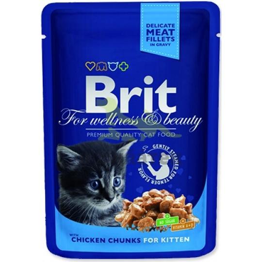 BRIT Premium cat Kapsička Kitten Chicken Chunks 48 x 100 g