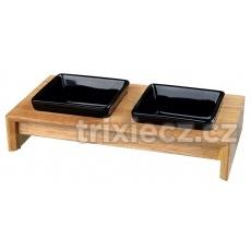 Keramické misky štvorcové v drevenom stojane 2x0,2l/10cm