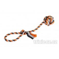HipHop Preťahovadlo bavlnená lopta 9 cm, 58 cm / 300 g šedá, tm.šedá, oranžová