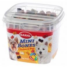 SANAL Mini Bones - poloměkké mini kostičky kuře,hovězí 100 g - DOPRODEJ