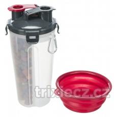 Cestovný zásobník na vodu a krmivo, včetne misky, 2 × 0.35 l/ø11 × 23 cm