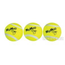 Balení-tenisový míček pískací 5 cm HIPHOP DOG (3 ks v bal.)