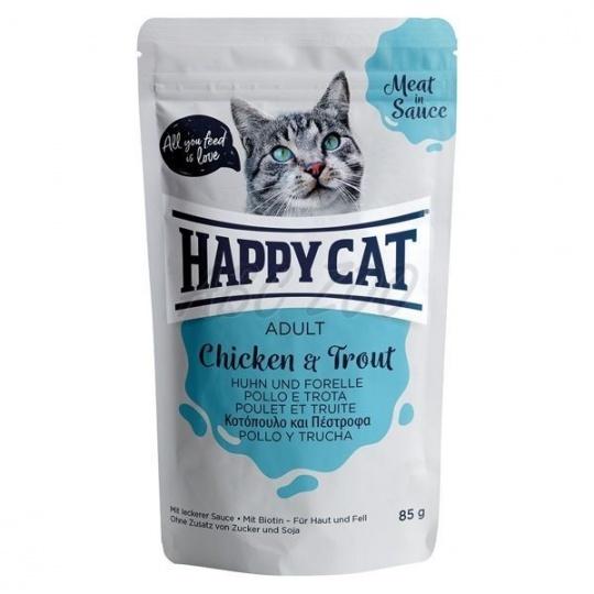 Happy Cat Adult Meat in Sauce Kapsička Kurča & Pstruh 0,85 g