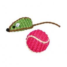 Sisalová myška a sisalový míček, 5cm/4 cm (2 ks/bal) - DOPRODEJ