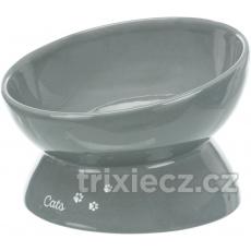 Ergonomická keramická miska XXL, vyvýšená, 0,35l/ ø 17cm, šedá