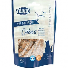 BE NORDIC Salmon Cubes, kostičky s lososem pro kočky 50g - DOPRODEJ