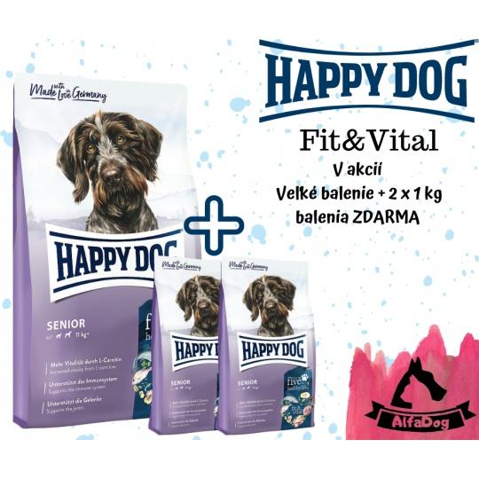 Happy Dog Fit & Vital Senior 12,5 kg + 2 x 1 kg ZDARMA +  DOPRAVA ZDARMA