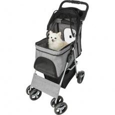 Kočárek pro psy BUGGY, rychlosklápěcí, 47 x 100 x 80cm, nosnost do 15 kg, šedá
