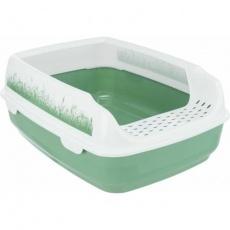 WC DELIO s výřezem a čistícím roštem, 35 x 20 x 48 cm, zelená/bílá