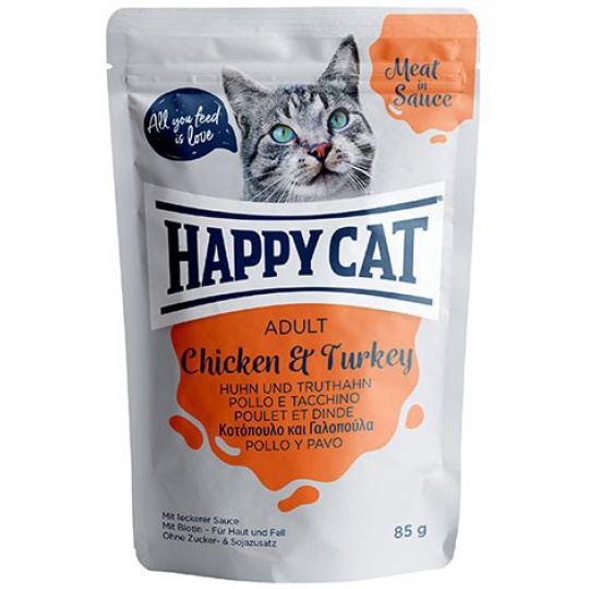 Happy Cat Adult Meat in Sauce Kapsička Kurča & Morka 0,85 g