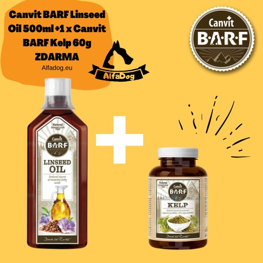 Canvit BARF Linseed Oil 500ml +1 x Canvit BARF Kelp 60g ZDARMA
