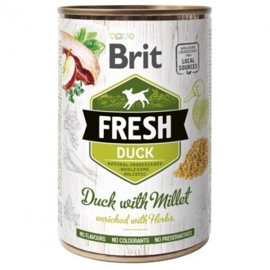 Brit Fresh Dog konzerva Duck with Millet 400 g