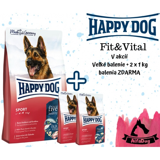 Happy Dog Fit & Vital Sport ADULT 15 kg + 2 x 1 kg ZADARMO