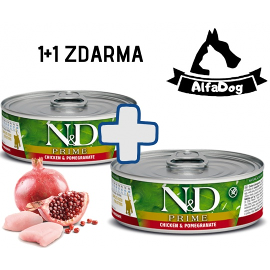N&D CAT PRIME Kitten Chicken & Pomegranate 80g 1 + 1 ZDARMA