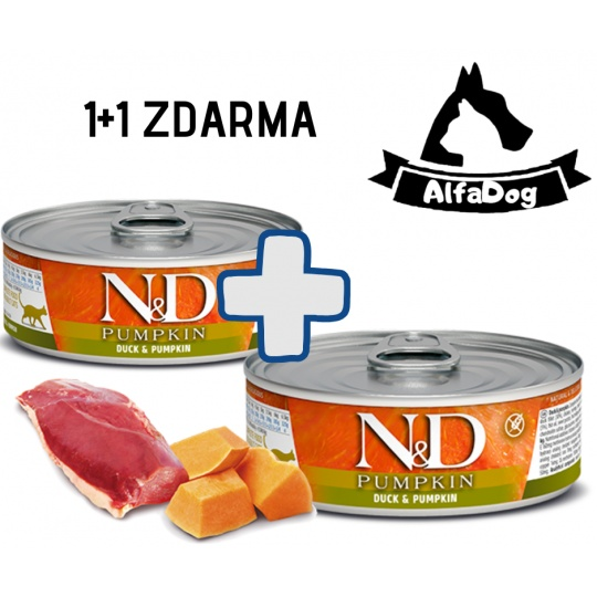 N&D CAT PUMPKIN Adult Duck & Pumpkin 80g 1 + 1 ZDARMA