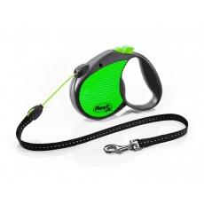 Flexi  Neon Reflect Lanko S 5m/12kg zelená