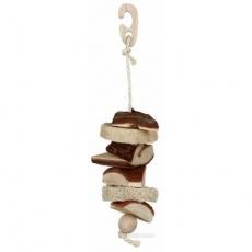 Závěsná hračka z přírodního dřeva a lufou  33cm - DOPRODEJ