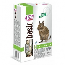 LOLO BASIC kompletní krmivo pro osmáky degu 450 g krabička