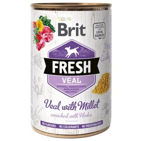 Brit Fresh Dog konzerva Veal with Millet 400 g