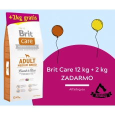 BRIT Care dog Adult Medium Breed Lamb & Rice 12 kg + 2 kg ZADARMO
