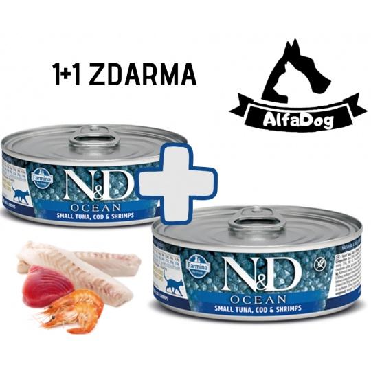 N&D CAT OCEAN Kitten Tuna & Codfish & Shrimps 80g 1 + 1 ZDARMA