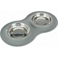 Set nízkých nerez misek v silikonovém prostírání, 2 × 0.3 l/ø 16 cm/47 × 3 × 26 cm, šedá