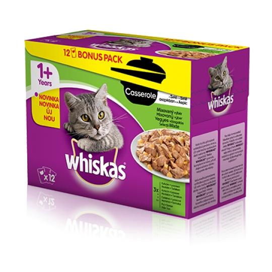 WHISKAS® kapsičky Casserole Mixovaný výber 12 x 85 g