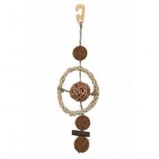 Závěsná hračka kokos.a proutěné kuličky na sisal.vlákně 35cm - DOPRODEJ