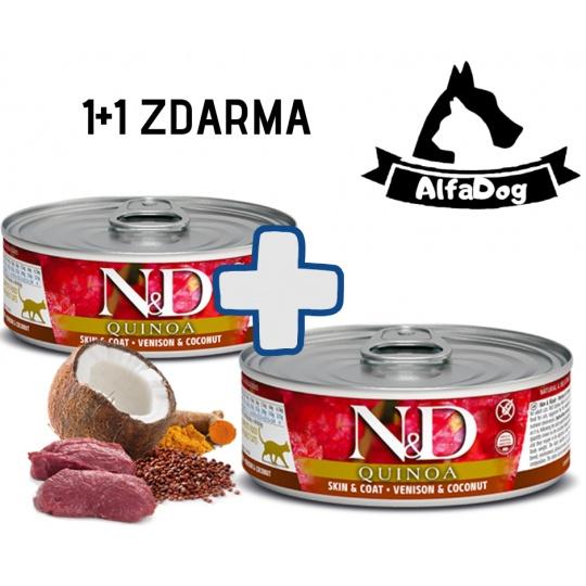 N&D CAT QUINOA Skin & Coat Venision 80g 1 + 1 ZDARMA