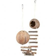 Kokosové domky pro křečky spojené žebříkem 2x13 x 100 cm