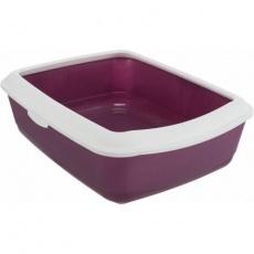 CLASSIC toaleta pro kočky, s okrajem, 37 x 15 x 47 cm, vínová/bílá