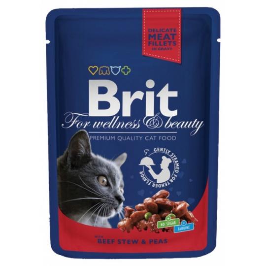 BRIT Premium cat Kapsička Adult Beef Stew & Peas 48 x 100g