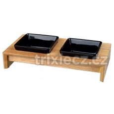 Keramické misky štvorcové v drevennom stojane 2x0,4l/13cm
