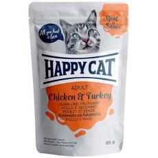 Happy Cat Adult Meat in Sauce Kapsička Kurča & Morka 48 x 85 g