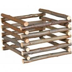 Natural Living - dřevěný přírodní stojan na seno 15 x 11 x 15 cm