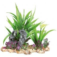 Akvarijní rostlina s květem a skalkou, ve štěrkovém lůžku, plast/polyester, 18 cm - DOPRODEJ