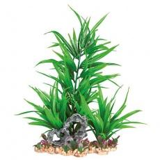 Akvarijní rostlina zelená, ve štěrkovém lůžku, plast/polyester, 28cm - DOPRODEJ