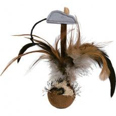 Squieky míček s peřím a myškou 15 cm