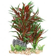 Akvarijní rostlina červenozelená, ve štěrkovém lůžku, plast/polyester, 28 cm - DOPRODEJ
